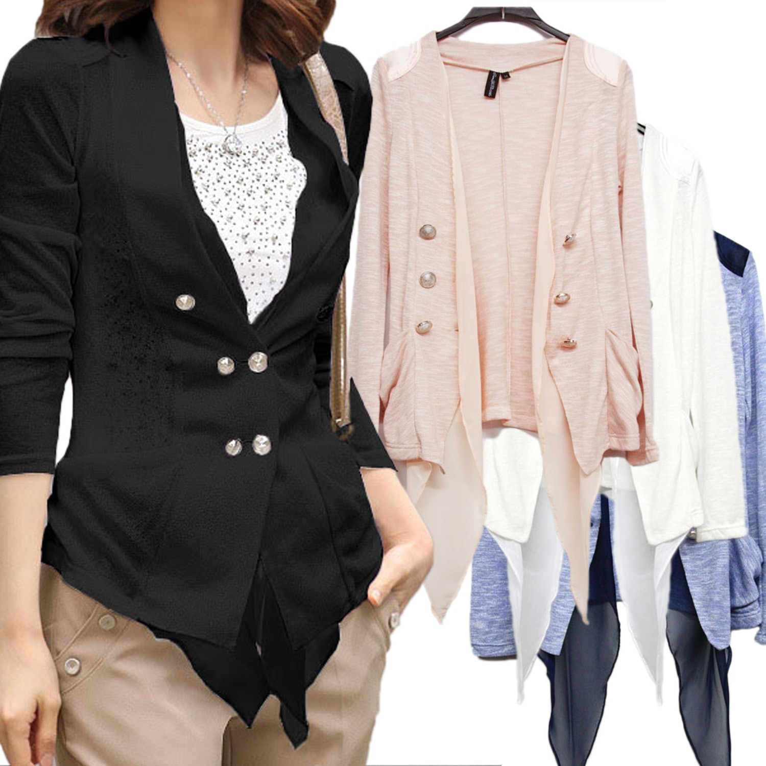 Double Buttoned Cardigan Sweater Top - 1186#