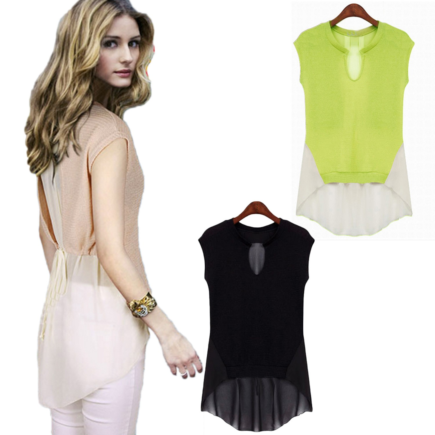 Chiffon Sleeveless Sheer Sleeveless Top Blouse - 6994#