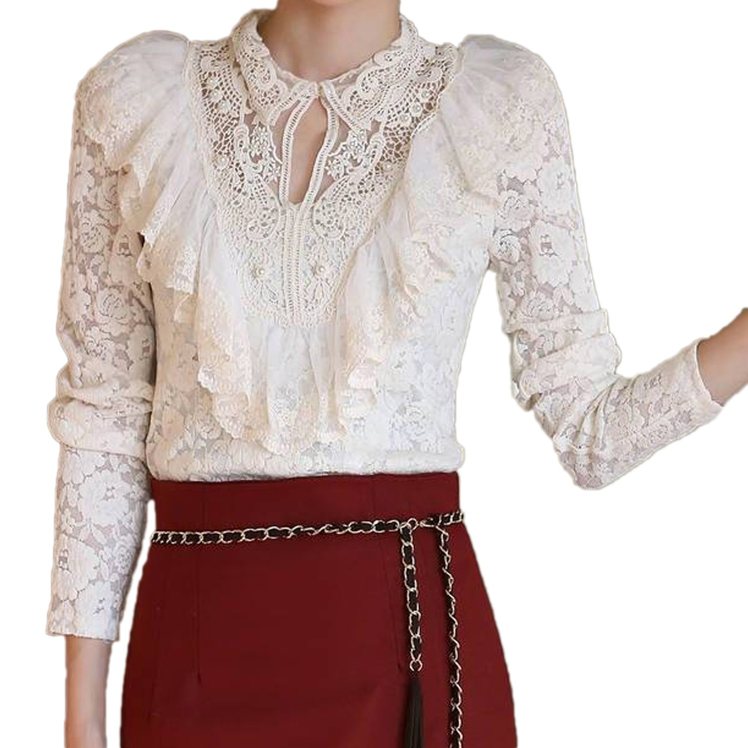Victorian Lace Shirt Blouse Top Sz XS-L - 8135#