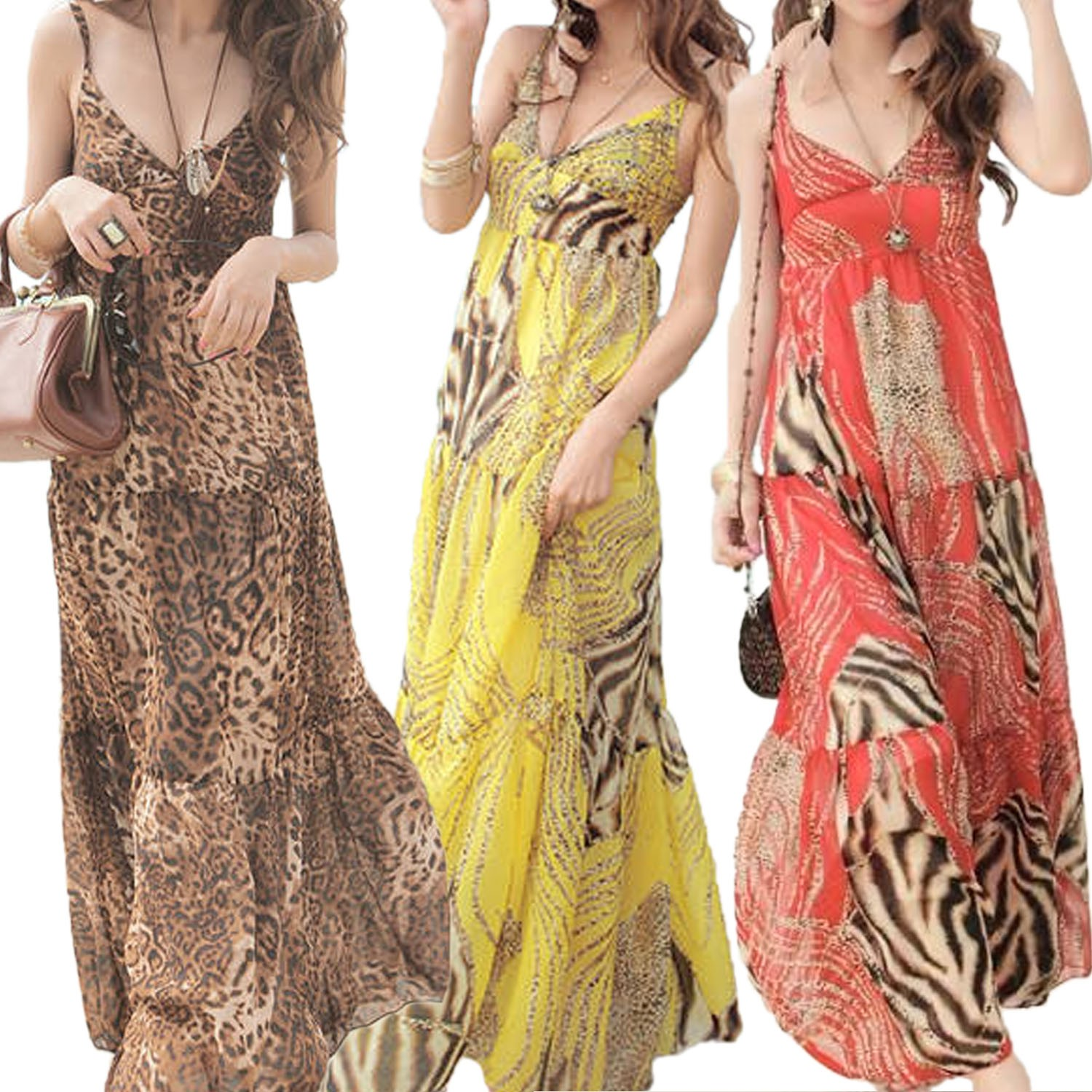 Bohemian Leopard Halter Neck Maxi Dress - 9504#