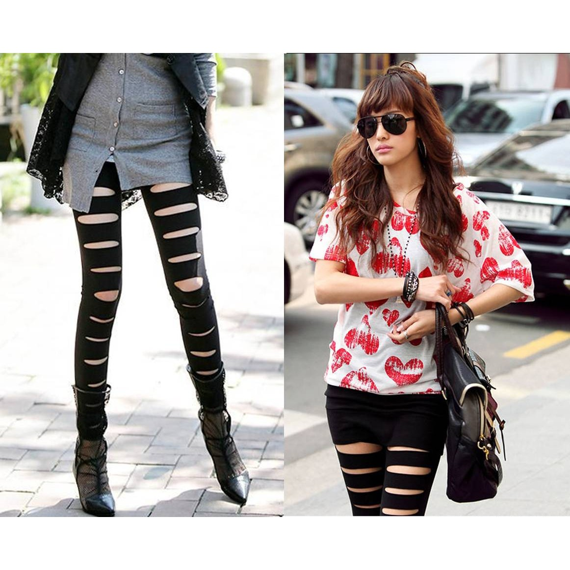 Ripped Cotton Stripes Leggings Tights - B806#