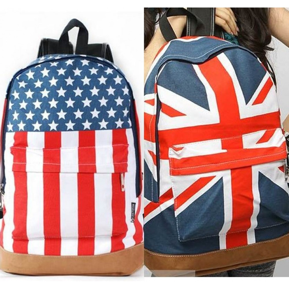 2012 Olympics Britain Flag Canvas Backpack Bag - BH02#