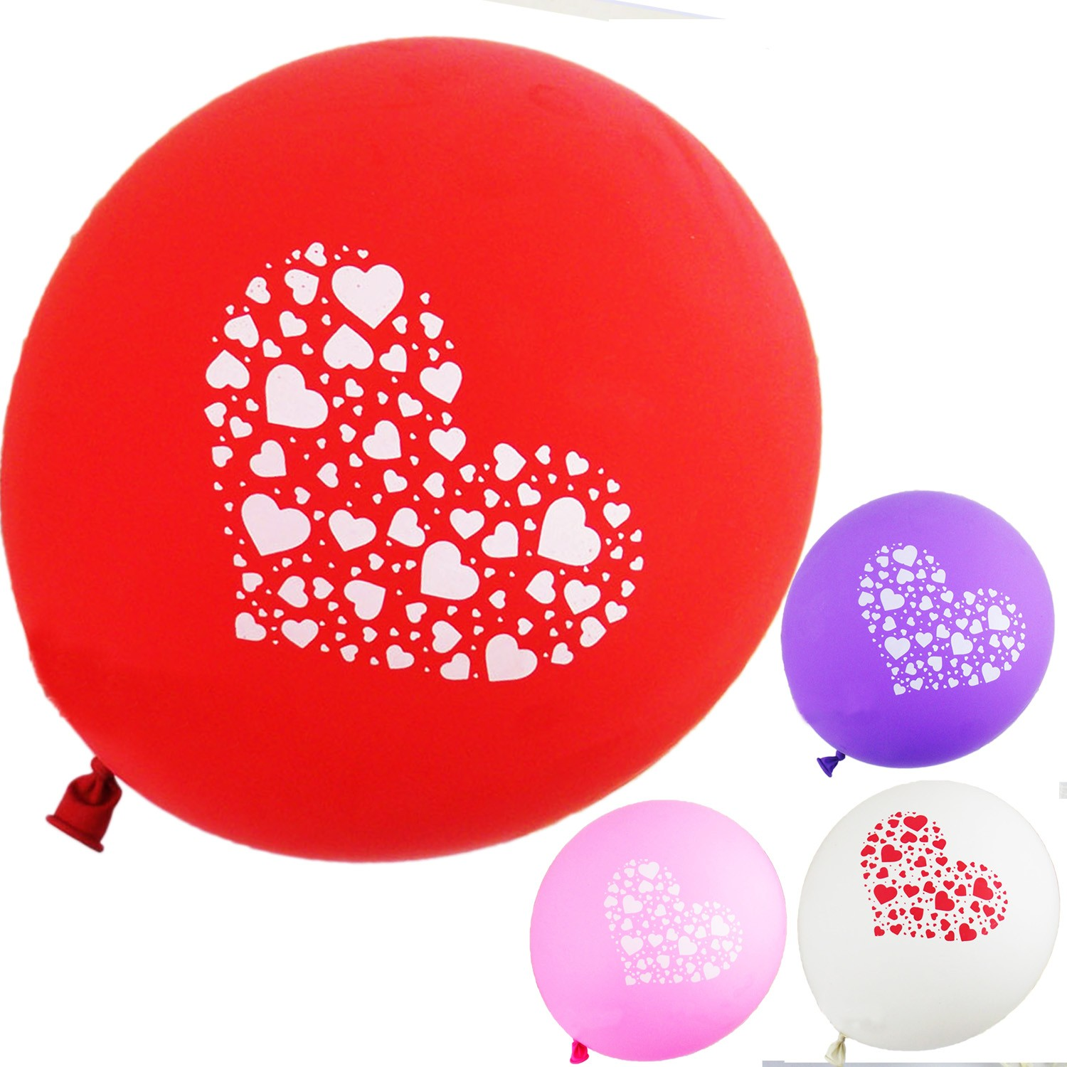Little Heart Print Party Balloons Bulk 12 inch - BL12#