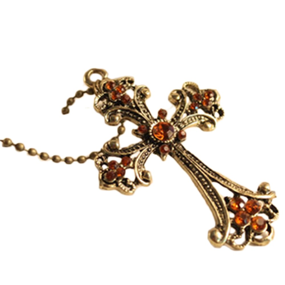 Rhinestone Cross Pendant Necklace - e213#