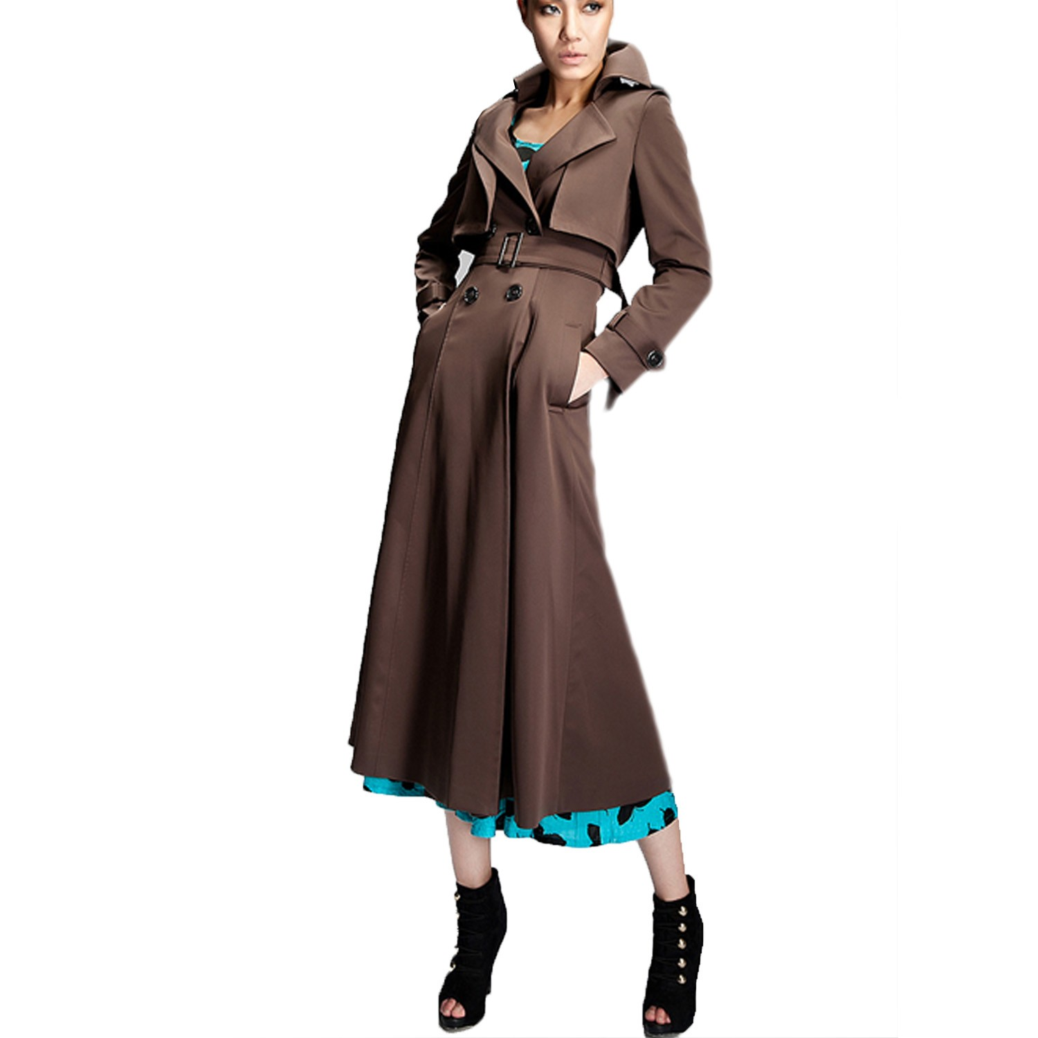 Pleated Dress Mac Vintage Womens Long Trench Coat calf ...