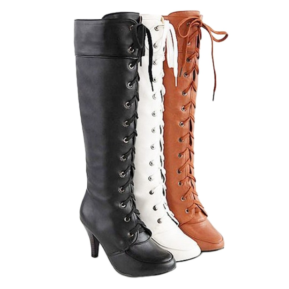 Lace Up Mid Calf High Heel Boots Shoes 34-43 - SB06#