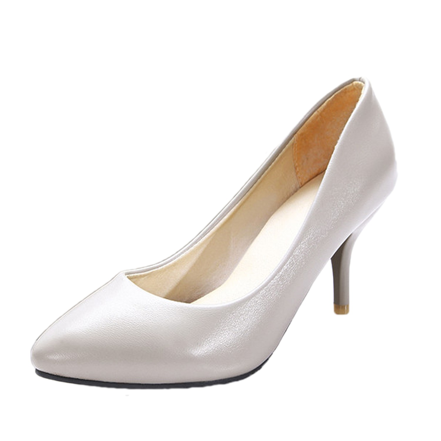 grey high heels small casual pumps career