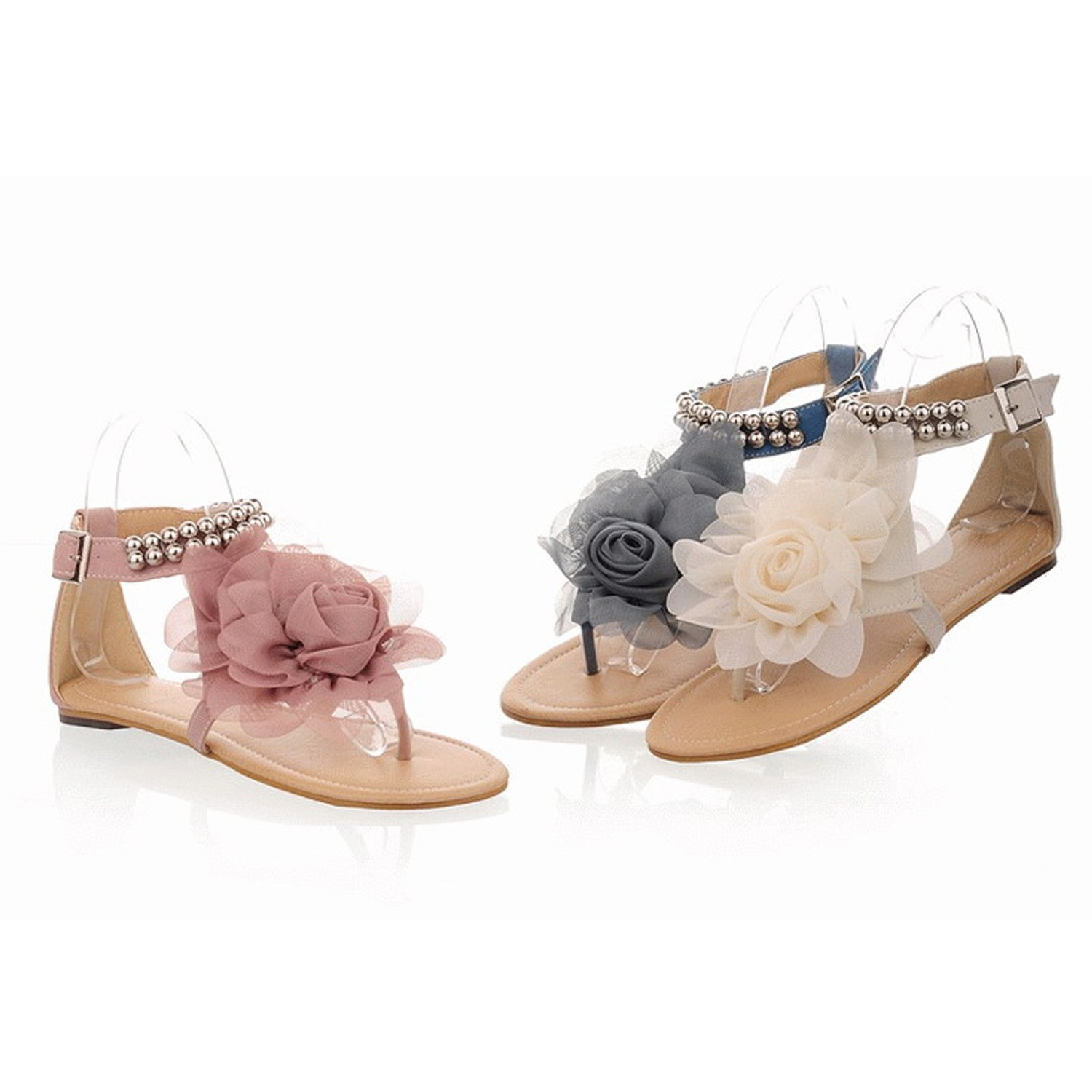 Flower Ankle Strap Flat Sandals - ss11#