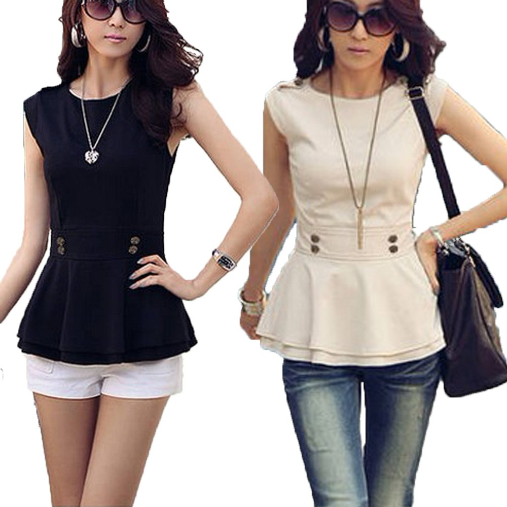Sleeveless Peplum Top Blouse - T3108#
