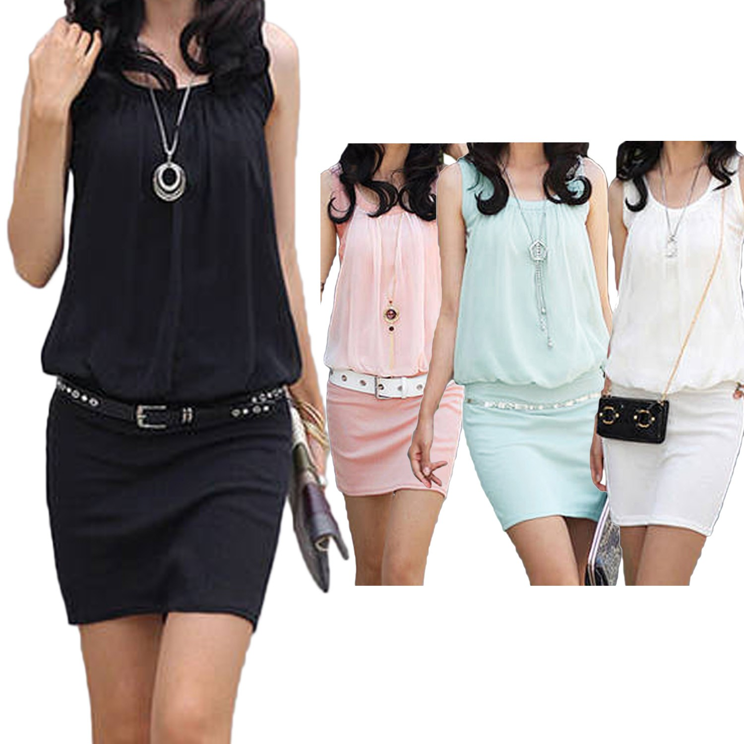 Chiffon Tank Bodycon Mini Dress - TW50#