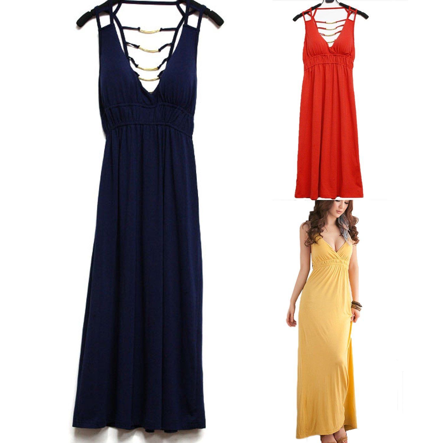 Backless Deep V Maxi Long Dress - tw54#