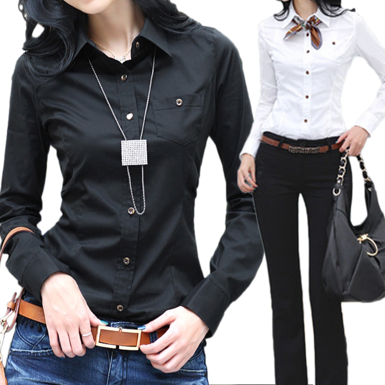 Long Sleeve Office Top Shirt - W104#
